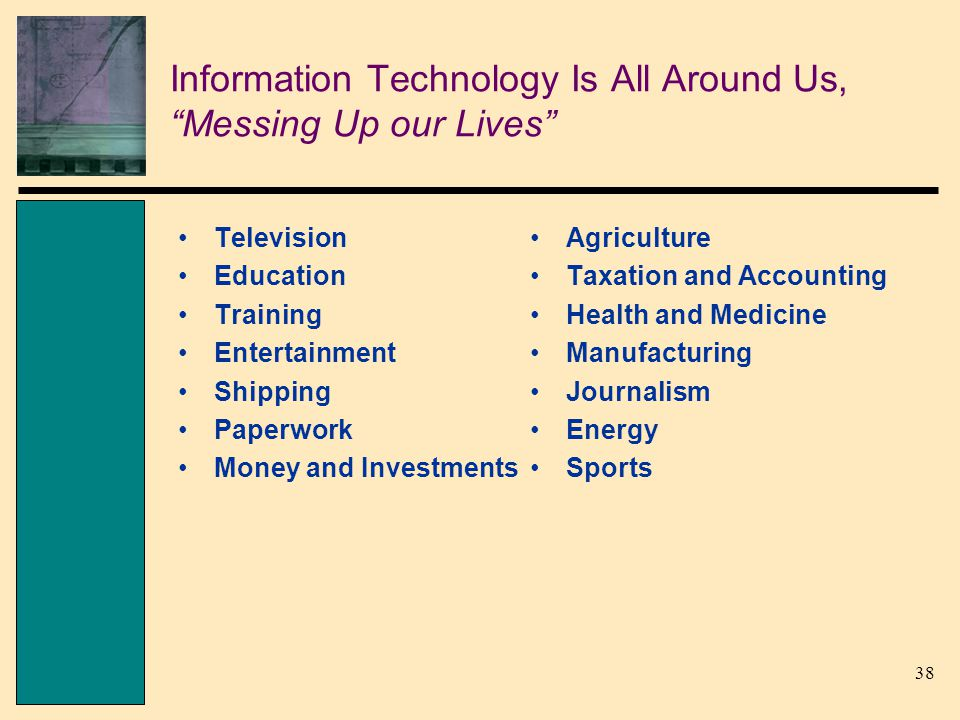 38 Information Technology Is All Around Us, Messing Up our Lives Television Education Training Entertainment Shipping Paperwork Money and Investments Agriculture Taxation and Accounting Health and Medicine Manufacturing Journalism Energy Sports