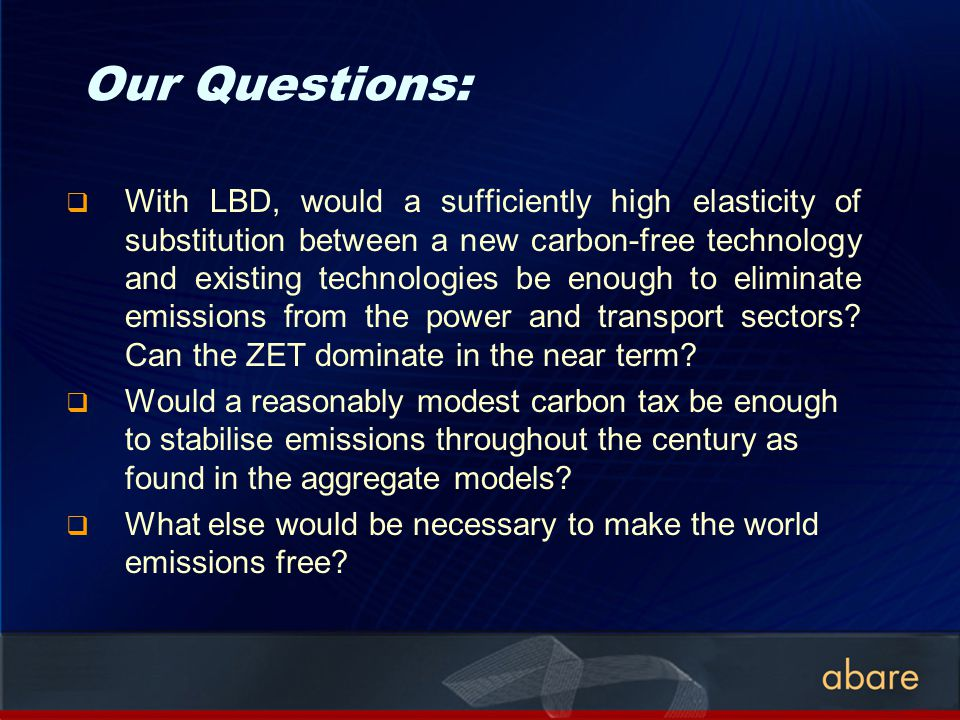 Our Questions: With LBD, would a sufficiently high elasticity of substitution between a new carbon-free technology and existing technologies be enough to eliminate emissions from the power and transport sectors.