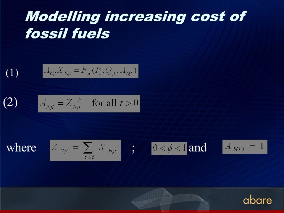 Modelling increasing cost of fossil fuels (2) where ; and (1)