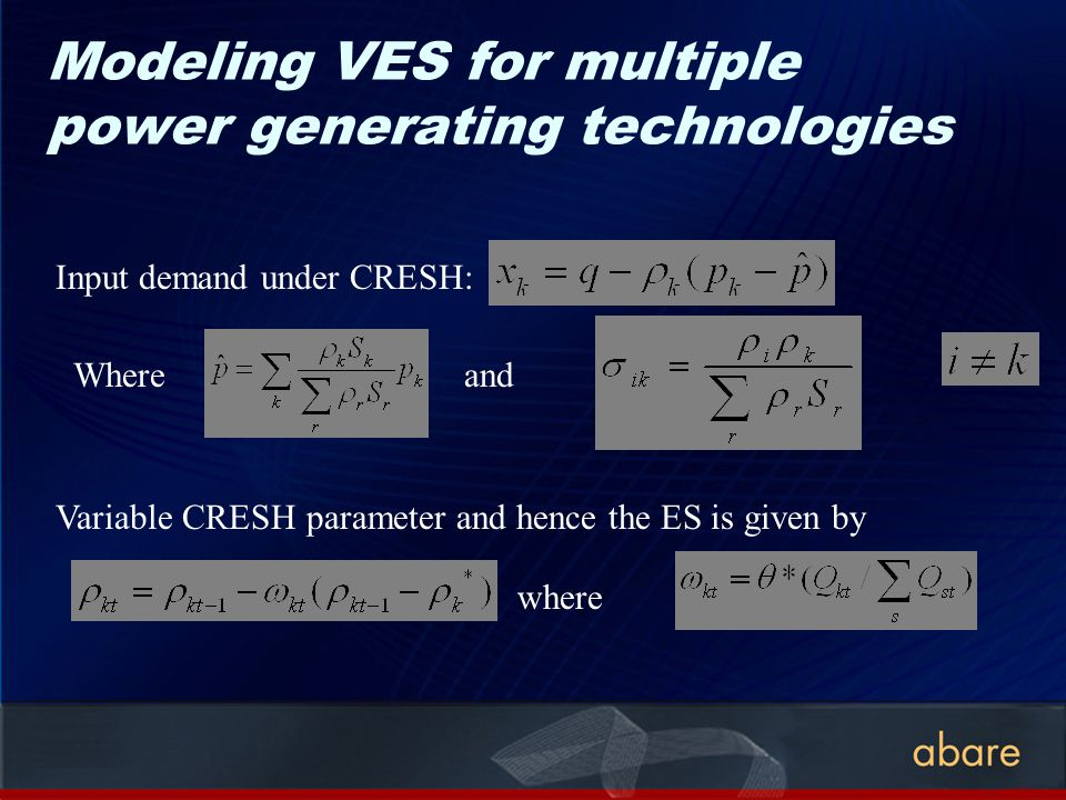 Modeling VES for multiple power generating technologies Input demand under CRESH: Whereand Variable CRESH parameter and hence the ES is given by where