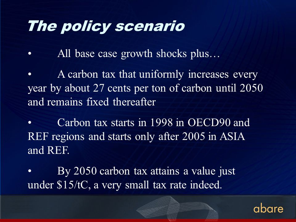 The policy scenario All base case growth shocks plus… A carbon tax that uniformly increases every year by about 27 cents per ton of carbon until 2050 and remains fixed thereafter Carbon tax starts in 1998 in OECD90 and REF regions and starts only after 2005 in ASIA and REF.