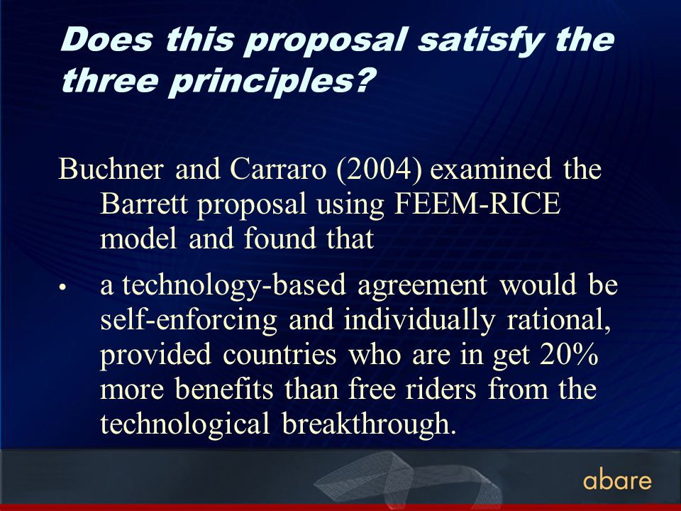 Does this proposal satisfy the three principles? Buchner and Carraro (2004) examined the Barrett proposal using FEEM-RICE model and found that a techn
