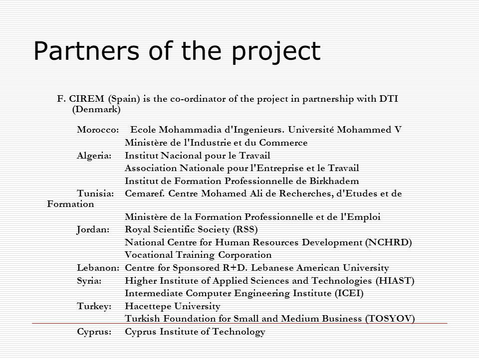 Partners of the project F.