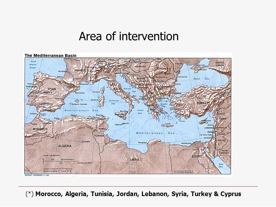 Area of intervention (*) Morocco, Algeria, Tunisia, Jordan, Lebanon, Syria, Turkey & Cyprus