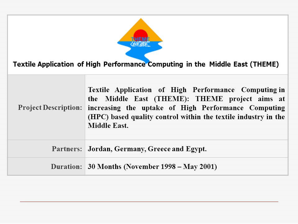 Project Description: Textile Application of High Performance Computing in the Middle East (THEME): THEME project aims at increasing the uptake of High Performance Computing (HPC) based quality control within the textile industry in the Middle East.