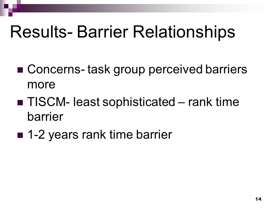 14 Results- Barrier Relationships Concerns- task group perceived barriers more TISCM- least sophisticated – rank time barrier 1-2 years rank time barrier