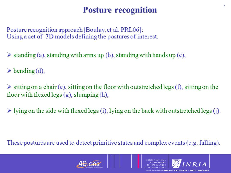 7 7 Posture recognition Posture recognition Posture recognition approach [Boulay, et al. PRL06]: Using a set of 3D models defining the postures of int