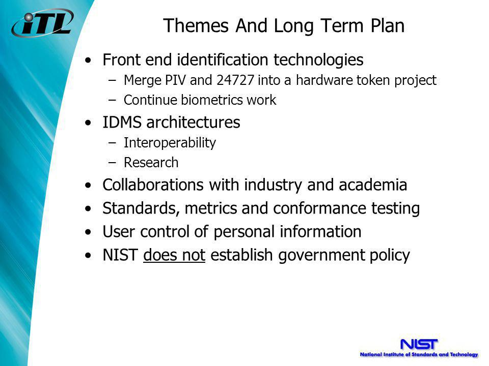 Themes And Long Term Plan Front end identification technologies –Merge PIV and 24727 into a hardware token project –Continue biometrics work IDMS architectures –Interoperability –Research Collaborations with industry and academia Standards, metrics and conformance testing User control of personal information NIST does not establish government policy