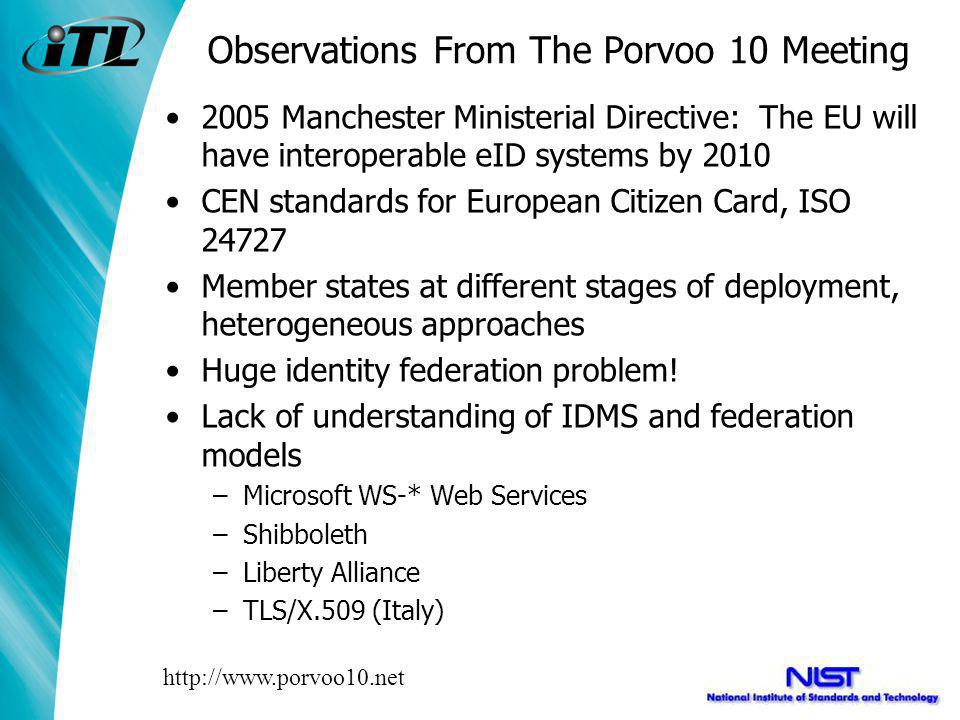 Observations From The Porvoo 10 Meeting 2005 Manchester Ministerial Directive: The EU will have interoperable eID systems by 2010 CEN standards for European Citizen Card, ISO 24727 Member states at different stages of deployment, heterogeneous approaches Huge identity federation problem.