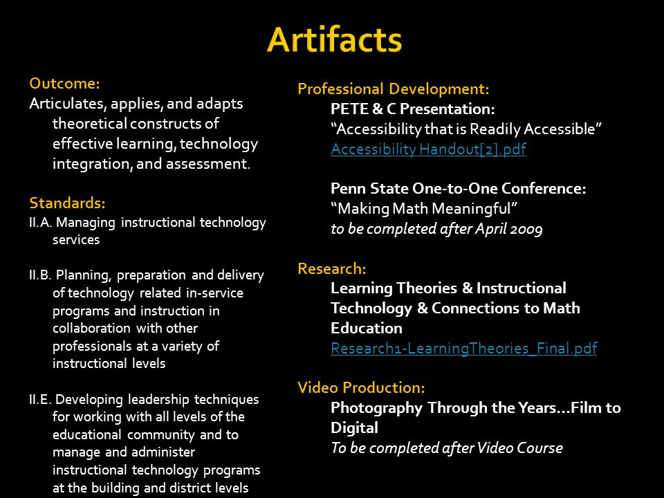 Artifacts Outcome: Articulates, applies, and adapts theoretical constructs of effective learning, technology integration, and assessment.