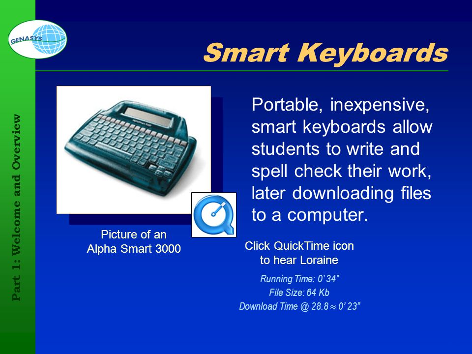 Part 1: Welcome and Overview 100 Picture of an Alpha Smart 3000 Smart Keyboards Portable, inexpensive, smart keyboards allow students to write and spe
