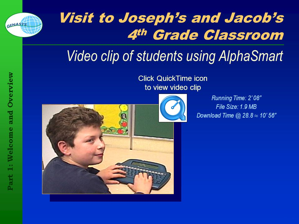 Part 1: Welcome and Overview 103 Visit to Josephs and Jacobs 4 th Grade Classroom Video clip of students using AlphaSmart Click QuickTime icon to view