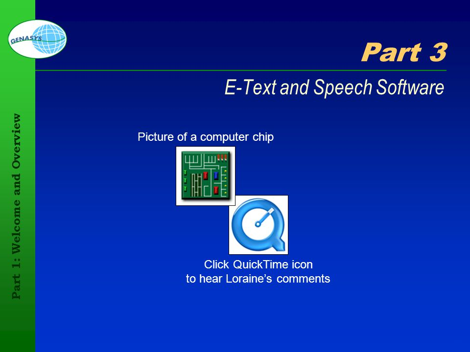 Part 1: Welcome and Overview 34 Part 3 E-Text and Speech Software Click QuickTime icon to hear Loraines comments Picture of a computer chip