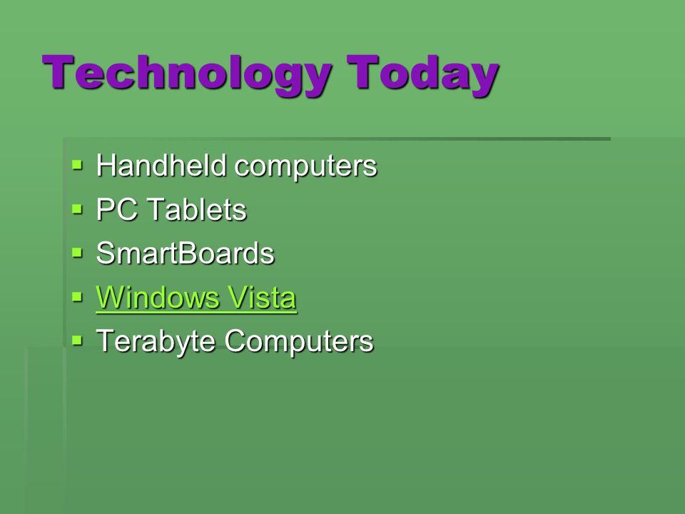 Technology Today Handheld computers Handheld computers PC Tablets PC Tablets SmartBoards SmartBoards Windows Vista Windows Vista Windows Vista Windows
