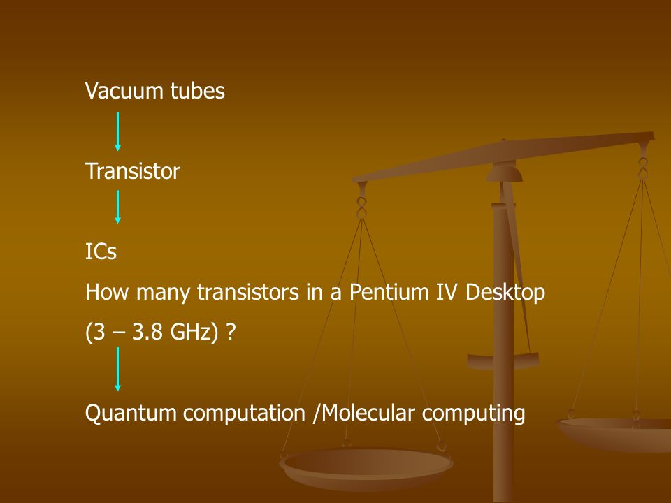 Vacuum tubes Transistor ICs How many transistors in a Pentium IV Desktop (3 – 3.8 GHz) .