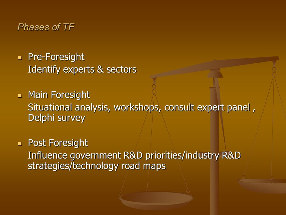 Phases of TF Pre-Foresight Pre-Foresight Identify experts & sectors Main Foresight Main Foresight Situational analysis, workshops, consult expert panel, Delphi survey Post Foresight Post Foresight Influence government R&D priorities/industry R&D strategies/technology road maps