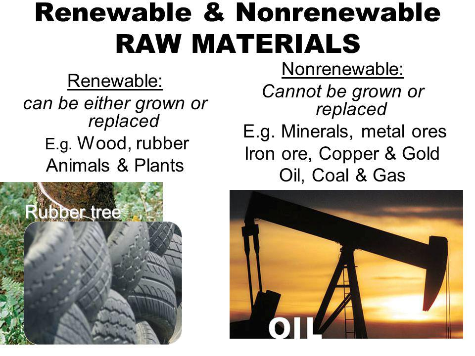 Renewable & Nonrenewable RAW MATERIALS Renewable: can be either grown or replaced E.g. Wood, rubber Animals & Plants Nonrenewable: Cannot be grown or