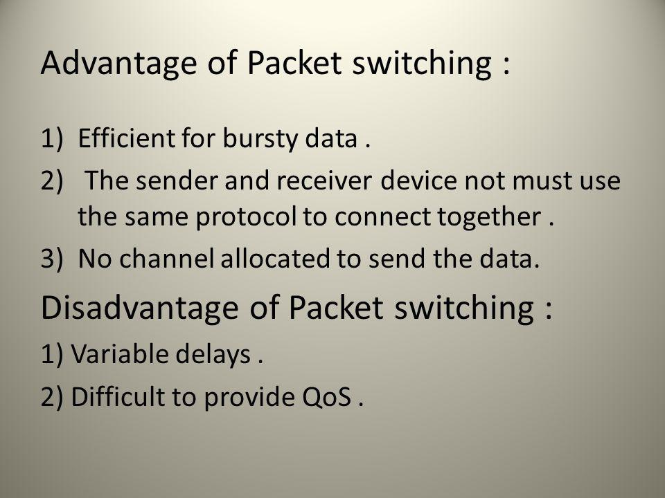 Advantage of Packet switching : 1)Efficient for bursty data.