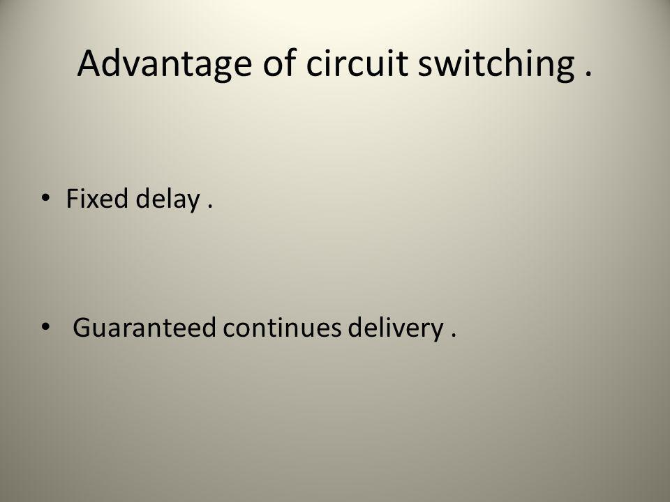 Advantage of circuit switching. Fixed delay. Guaranteed continues delivery.