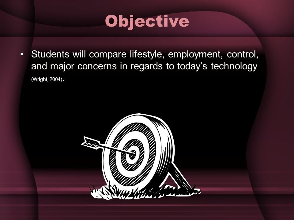 Objective Students will compare lifestyle, employment, control, and major concerns in regards to todays technology (Wright, 2004).