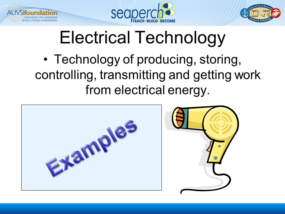 Electronic Technology Technology of using small amounts of electricity for controlling; detecting; and information collecting, storing, retrieving, processing and communicating.