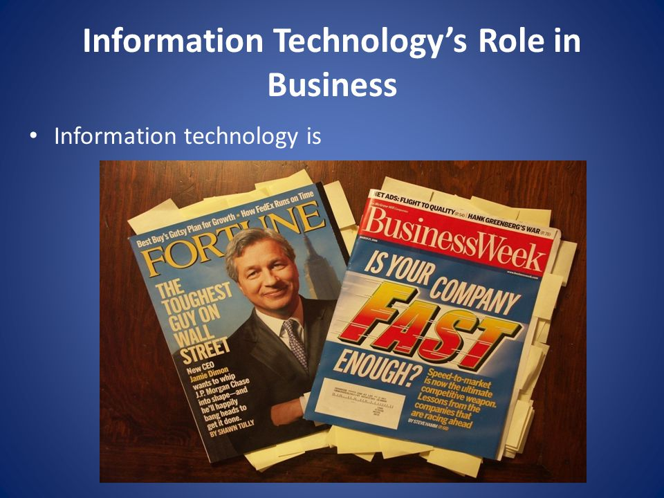 Class Focus this semester Business Driven Technology – Business initiatives should drive technology choices Business needs first: technology supports