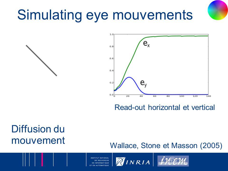 17 Diffusion du mouvement Wallace, Stone et Masson (2005) Simulating eye mouvements Read-out horizontal et vertical