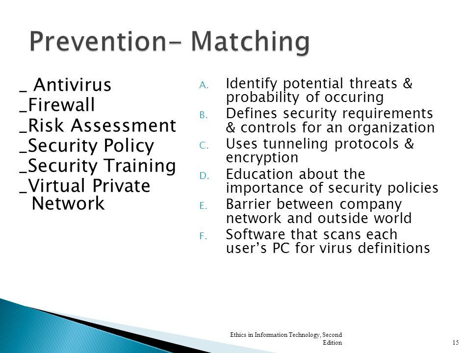 _ Antivirus _Firewall _Risk Assessment _Security Policy _Security Training _Virtual Private Network A. Identify potential threats & probability of occ