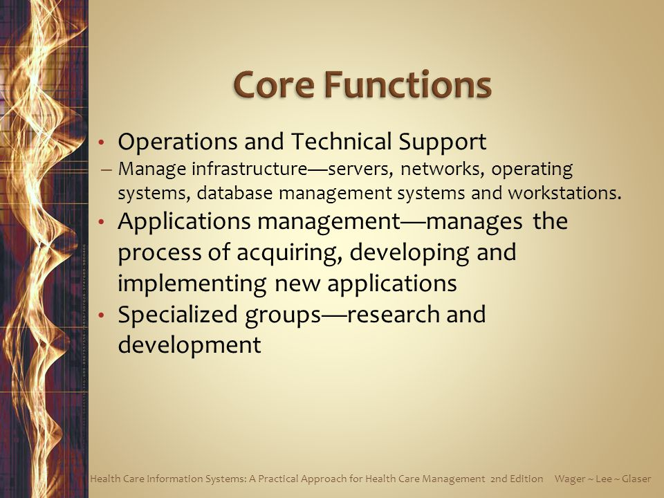 Operations and Technical Support – Manage infrastructureservers, networks, operating systems, database management systems and workstations. Applicatio