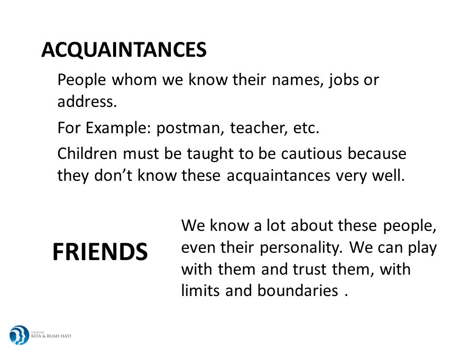 ACQUAINTANCES People whom we know their names, jobs or address.