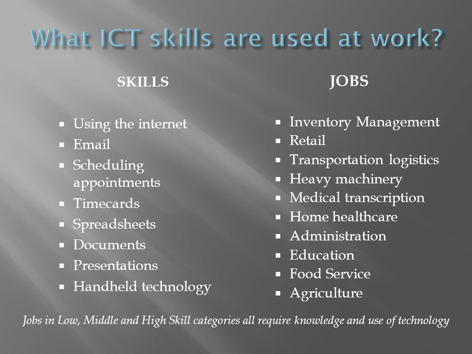 SKILLS Using the internet Email Scheduling appointments Timecards Spreadsheets Documents Presentations Handheld technology JOBS Inventory Management R