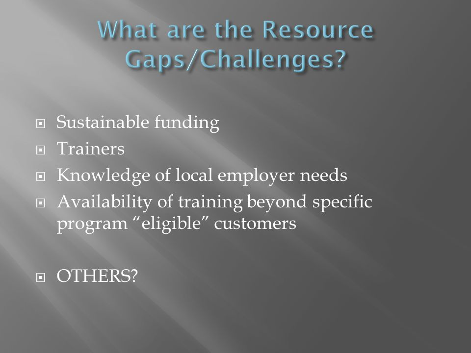 Sustainable funding Trainers Knowledge of local employer needs Availability of training beyond specific program eligible customers OTHERS?