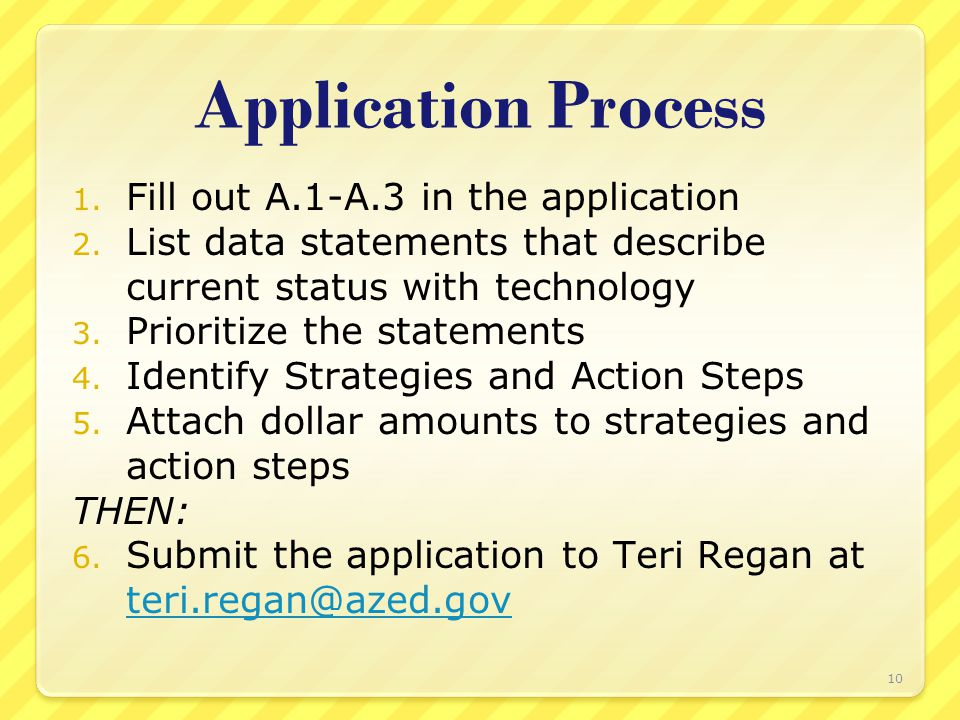 Application Process 1. Fill out A.1-A.3 in the application 2.