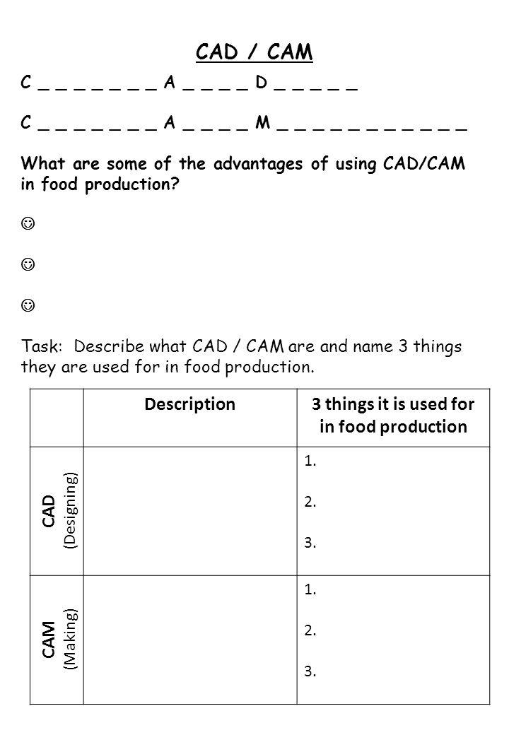 CAD / CAM C _ _ _ _ _ _ _ A _ _ _ _ D _ _ _ _ _ C _ _ _ _ _ _ _ A _ _ _ _ M _ _ _ _ _ _ _ _ _ _ _ What are some of the advantages of using CAD/CAM in