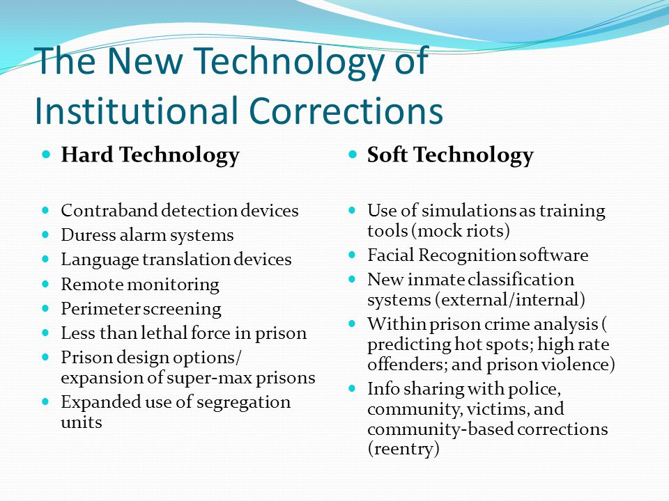 The New Technology of Institutional Corrections Hard Technology Contraband detection devices Duress alarm systems Language translation devices Remote