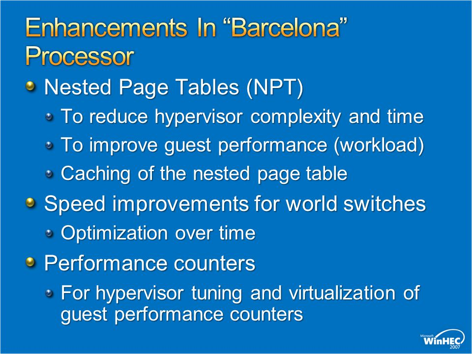 ~20% Intercepts remaining with Nested Page Tables Intercepts due to Shadow Page Tables ~80%