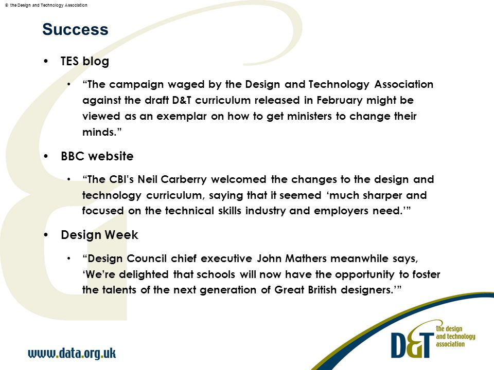 © the Design and Technology Association What the minister wanted...
