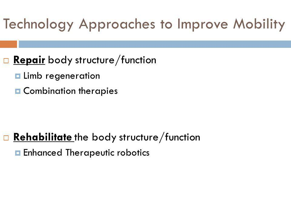 Technology Approaches to Improve Mobility Repair body structure/function Limb regeneration Combination therapies Rehabilitate the body structure/funct