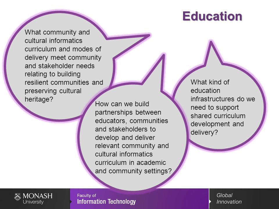 Education What community and cultural informatics curriculum and modes of delivery meet community and stakeholder needs relating to building resilient communities and preserving cultural heritage.