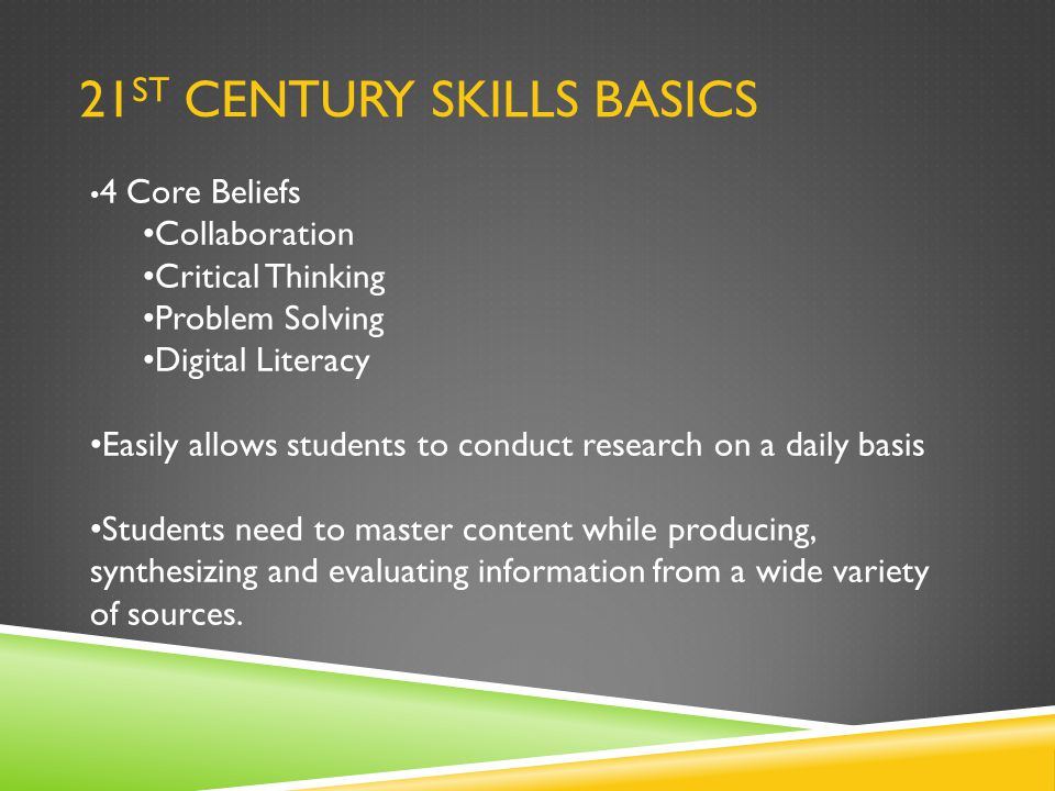 21 ST CENTURY SKILLS BASICS 4 Core Beliefs Collaboration Critical Thinking Problem Solving Digital Literacy Easily allows students to conduct research on a daily basis Students need to master content while producing, synthesizing and evaluating information from a wide variety of sources.
