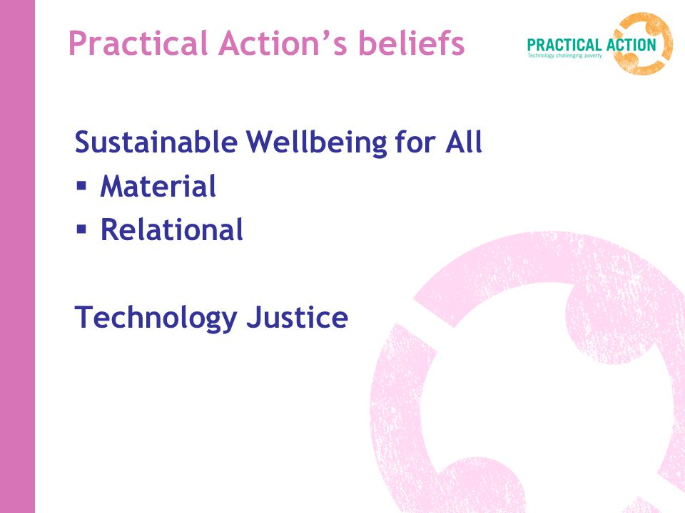 Practical Actions beliefs Sustainable Wellbeing for All Material Relational Technology Justice
