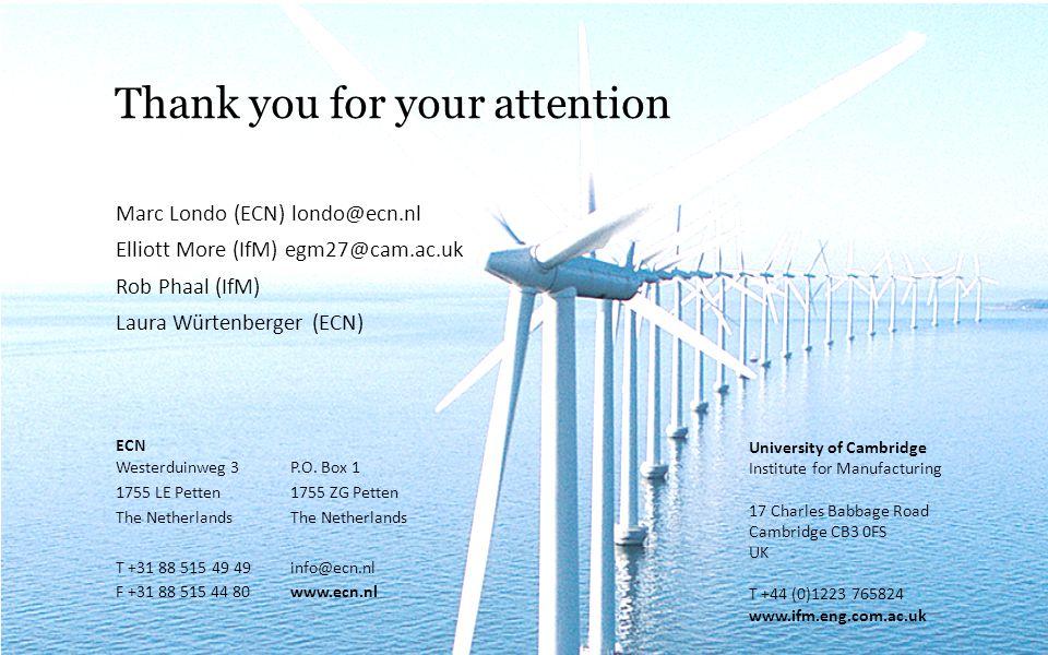 Thank you for your attention Marc Londo (ECN) londo@ecn.nl Elliott More (IfM) egm27@cam.ac.uk Rob Phaal (IfM) Laura Würtenberger (ECN) ECN Westerduinweg 3P.O.