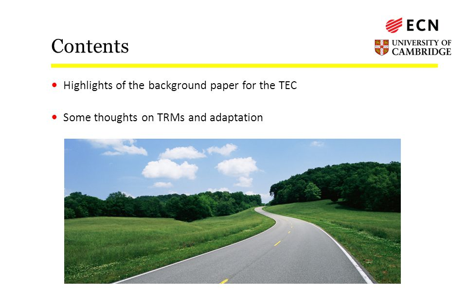 Contents Highlights of the background paper for the TEC Some thoughts on TRMs and adaptation