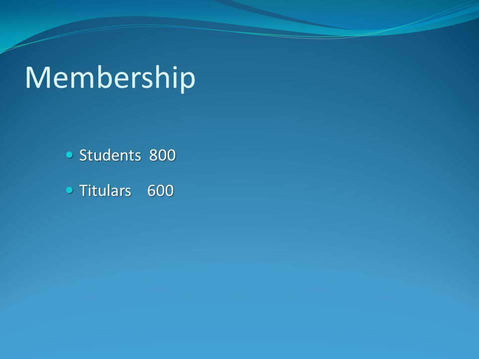 Membership Students 800 Students 800 Titulars 600 Titulars 600