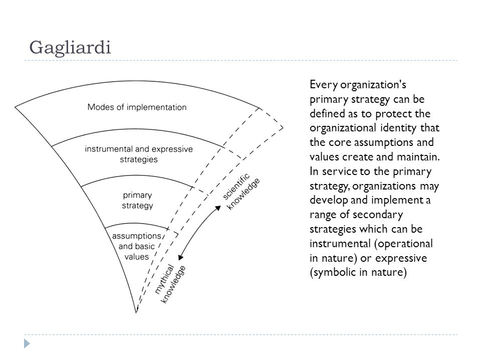 Gagliardi Every organization's primary strategy can be defined as to protect the organizational identity that the core assumptions and values create a