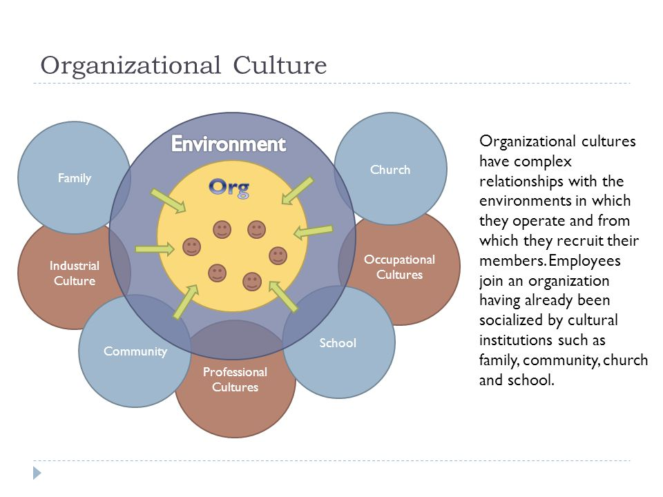 Organizational Culture Occupational Cultures Professional Cultures Industrial Culture Church School Community Family Organizational cultures have complex relationships with the environments in which they operate and from which they recruit their members.