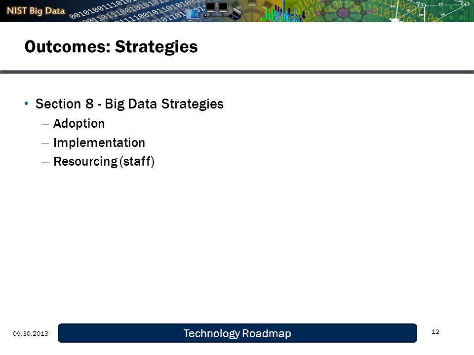 Definition and Taxonomy 9/29/13 Outcomes: Strategies 12 Technology Roadmap 09.30.2013 Section 8 - Big Data Strategies – Adoption – Implementation – Resourcing (staff)