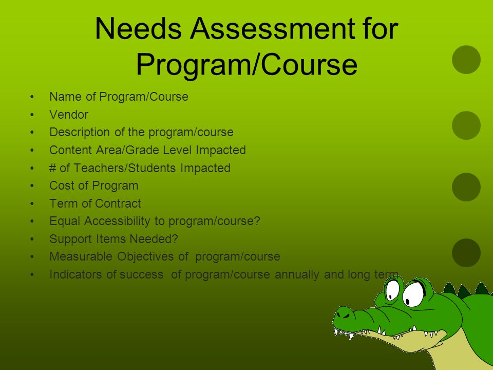 Needs Assessment for Program/Course Name of Program/Course Vendor Description of the program/course Content Area/Grade Level Impacted # of Teachers/Students Impacted Cost of Program Term of Contract Equal Accessibility to program/course.