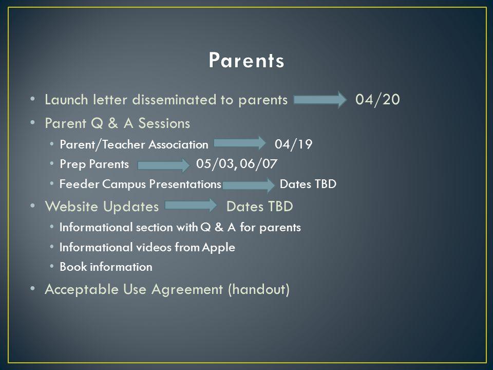 L aunch letter disseminated to parents 04/20 P arent Q & A Sessions P arent/Teacher Association 04/19 P rep Parents 05/03, 06/07 F eeder Campus Presen