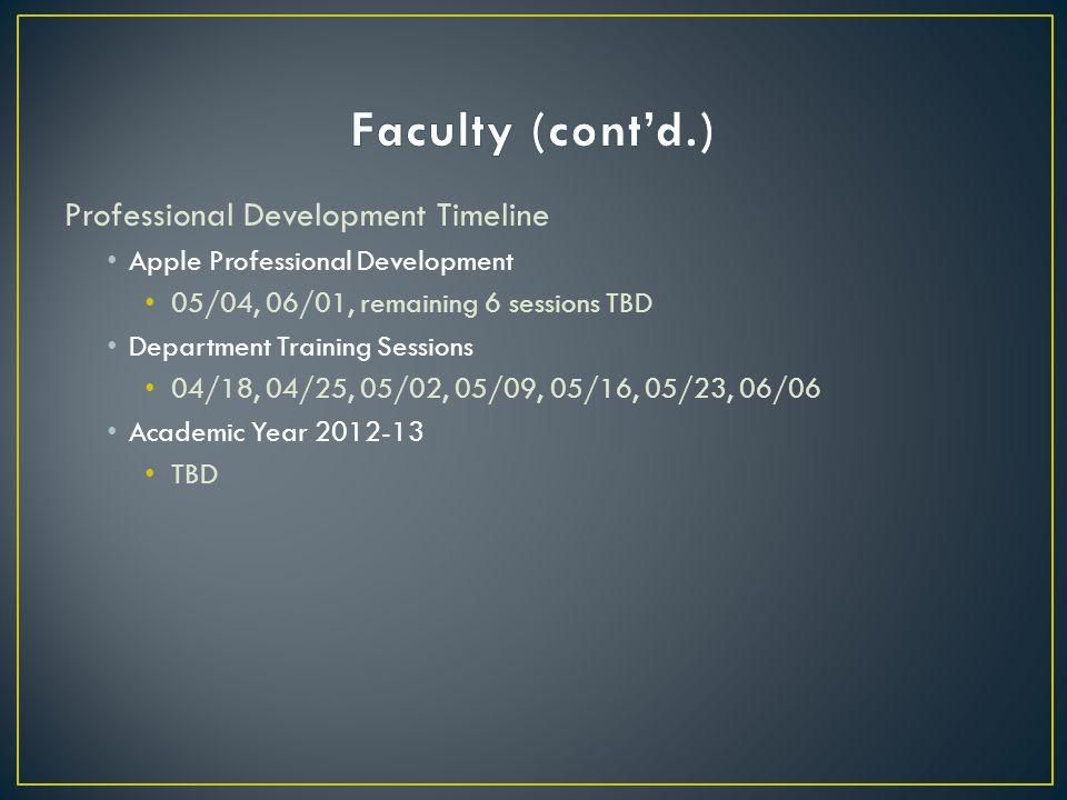 Professional Development Timeline Apple Professional Development 05/04, 06/01, remaining 6 sessions TBD Department Training Sessions 04/18, 04/25, 05/02, 05/09, 05/16, 05/23, 06/06 Academic Year 2012-13 TBD